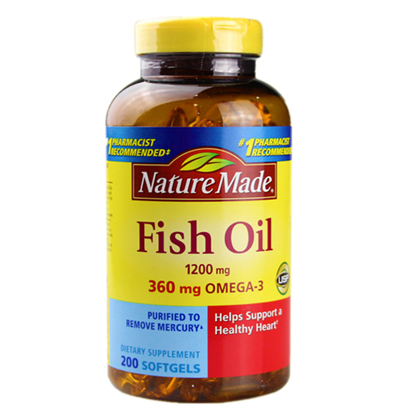 Free shipping Fish Oil 1200 mg 360 mg omega-3 Helps support Healthy heart 200 pcs