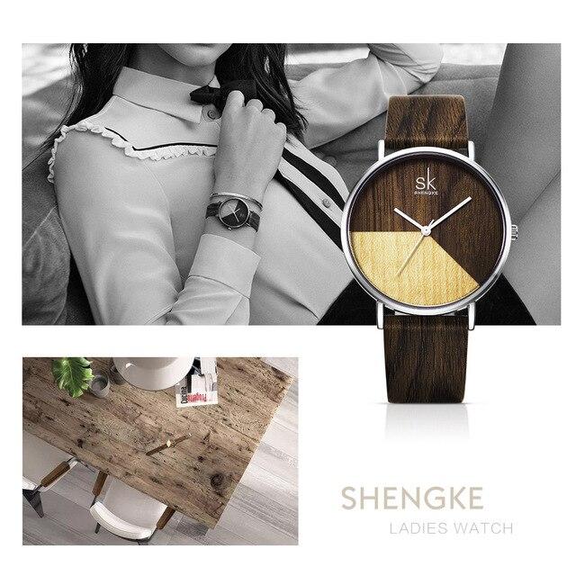6232f7656a96 Shengke alta calidad mujeres relojes de madera reloj de cuero para chica  japonés cuarzo con caja de regalo