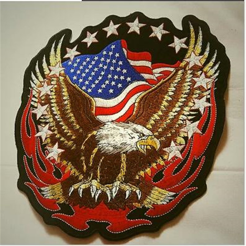 Biker Patches Harley Eagle Flame Badges Embroidered Patches ...