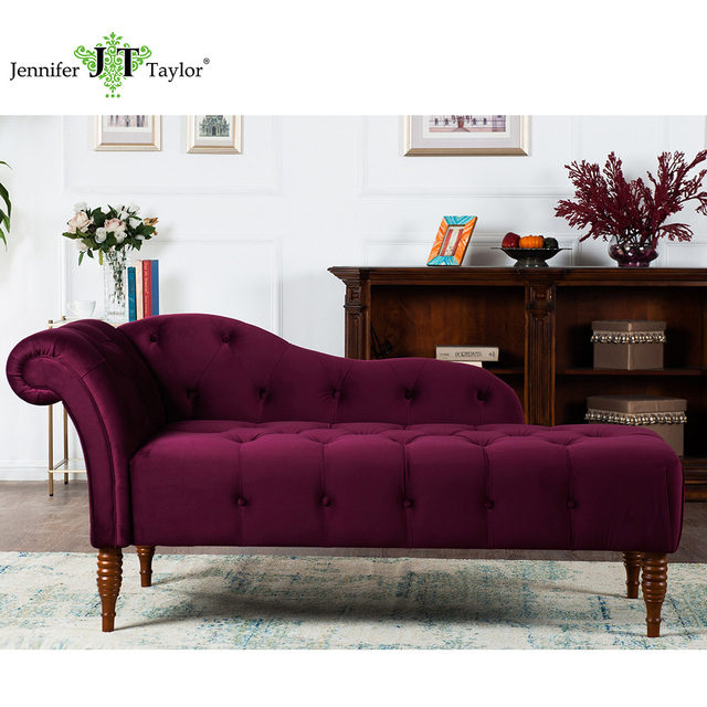 Jennifer Taylor, Chaise Lounge, Right Arm Facing, Burgundy, Hand Tufted