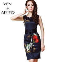 VA Plus Size 2015 Summer Navy O Neck Embroidery Sleeveless Women Dress Elegant Vintage Party Gwon