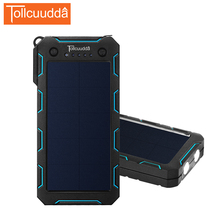Tollcuudda Taşınabilir Şarj Güneş Enerjisi Banka 12000 mah Xiaomi Iphone Harici Pil Powerbank Için Su Geçirmez Çift USB Poverbank