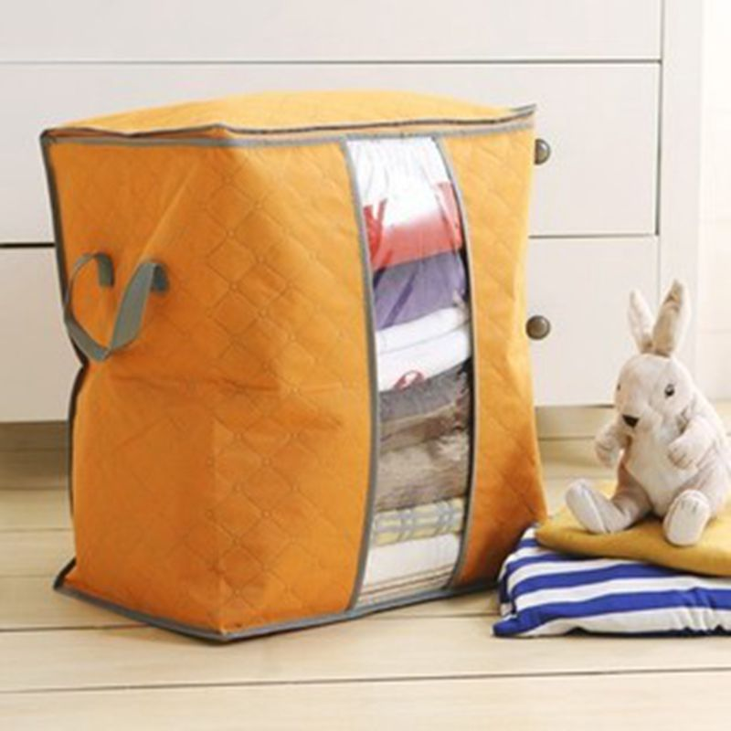 Image 4 - Portable Clothes Storage Bag Organizer Non woven Folding Closet Organizer Clothing Pillow Quilt Blanket Bedding Toys Organizer-in Storage Bags from Home & Garden