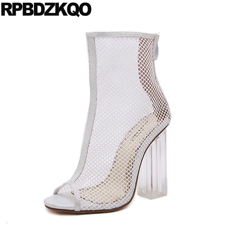 Boots Clear Sexy White Extreme Mesh Sandals Summer Cut Out High Heel Chunky Ankle Open Toe Transparent Cheap Cutout Shoes 2017 cut out mesh sheer slip babydoll