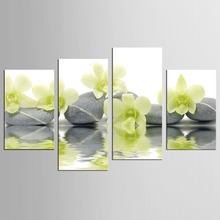 Light green orchid stone 4 Pieces  Art Work Canvas Prints Wall Decor Spa Massage Treatment Painting