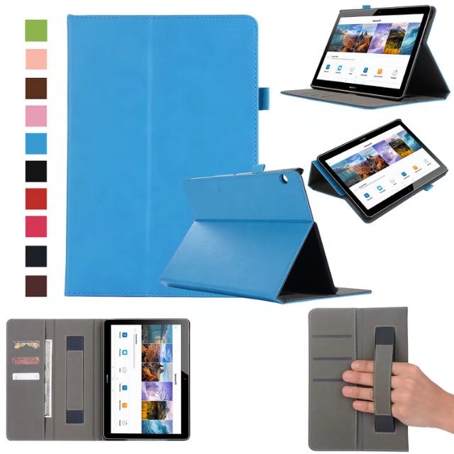 Case Cover for Huawei MediaPad T3 8 8.0 KOB-L09 KOB-W09 Honor Play Pad 2 Tablet Wallet Hand Holder Grip Shell w/ Card Slots luxury pu leather case cover for huawei mediapad m3 lite 8 0 cpn w09 cpn al00 8 tablet flip wallet stand cover with card slots