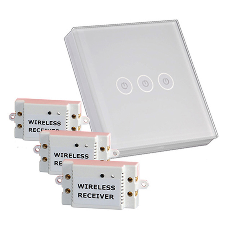 Free Shipping White Crystal Glass Panel Wireless Touch Light Switch 3 gang 3 Way Remote Control LED Indicator Touch Switch smart home eu touch switch wireless remote control wall touch switch 3 gang 1 way white crystal glass panel waterproof power