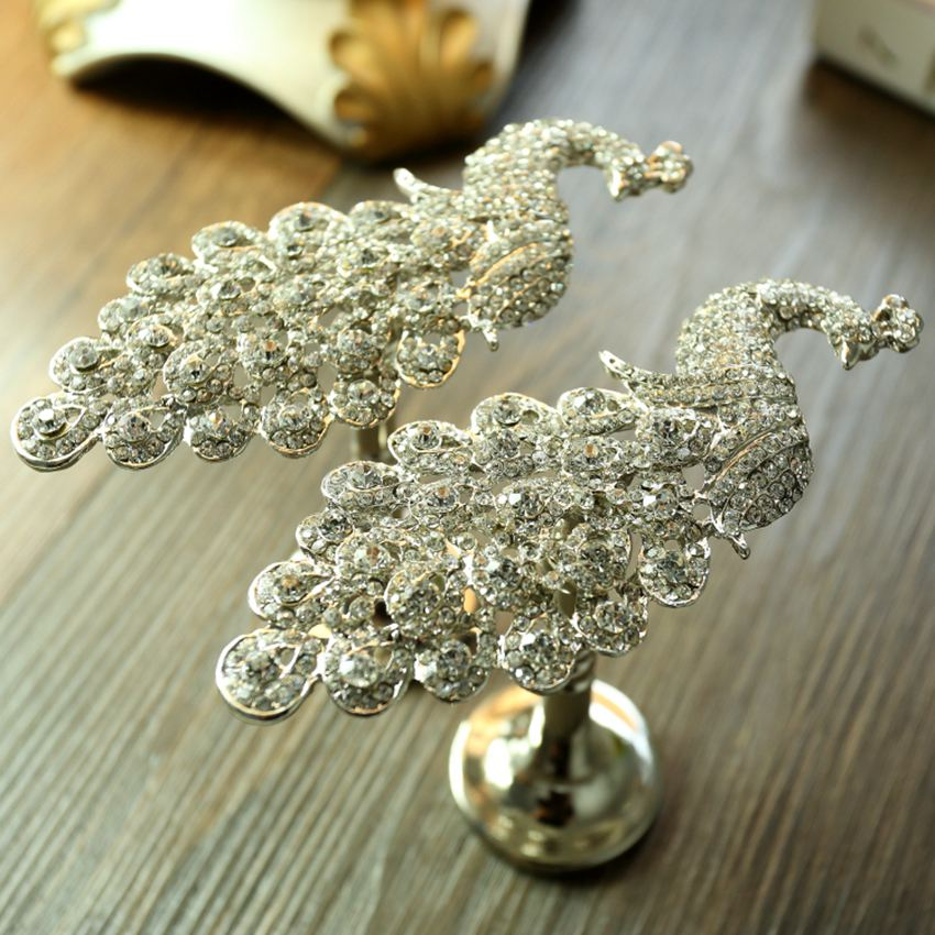 Metal Hooks For Curtains Roman Blinds Accessories Curtain Tieback Wall Hook  Curtain Peacock Crystal Window Curtain