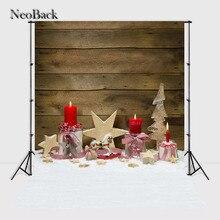 Neoback виниловые печатные новорожденного фотографии фон Новогодние товары свечи древесины снег дети фон фотостудия A1068