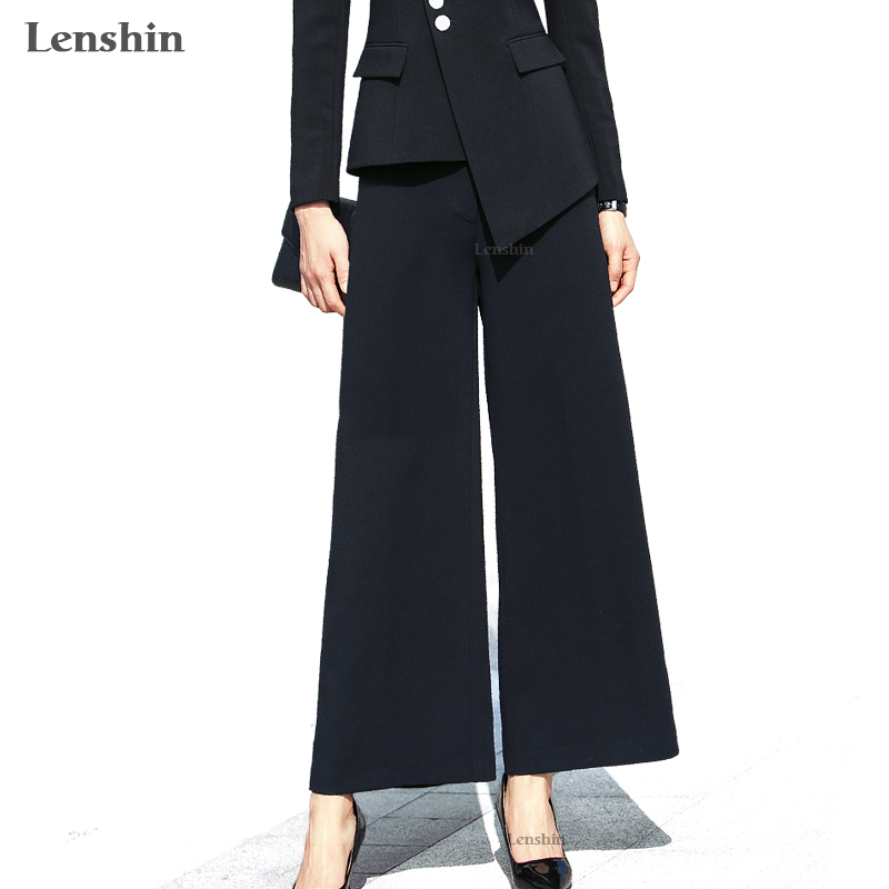 Lenshin   Wide     Leg     Pants   Ankle-Length Trousers Women Casual Solid Women Elegant Office Lady Style