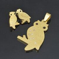 SS044 Kristal Altın Hayvan Baykuş Bal TeddyJewelry Set Hediye Paslanmaz Çelik Küpe Çiviler Kolye Kolye