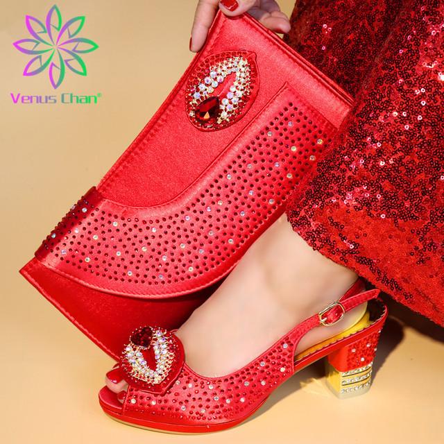 Zapatos africanos de color rojo y conjunto de bolsas de 7cm zapatos italianos de tacón bajo con bolso a juego más vendido Señoras a juego zapatos y bolso