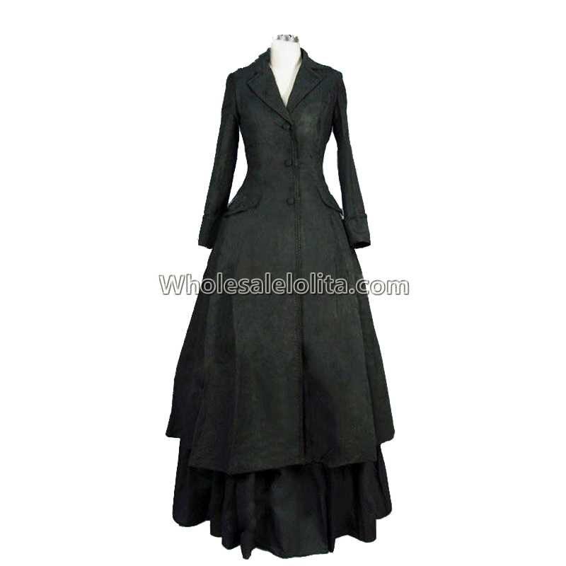 Edwardian Victorian Downton Abbey Gothic Black Premium Velvet Coat Dress Steampunk Vampire Theater Costume Coat