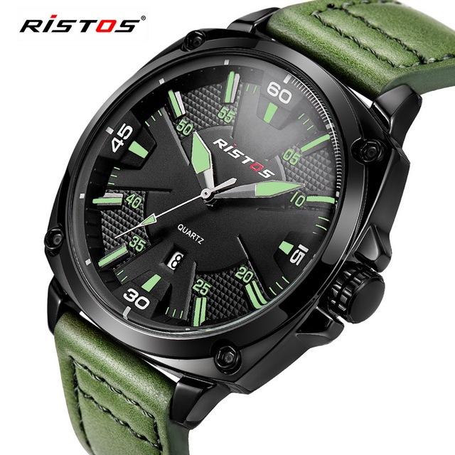 Ristos 2016 Nova Marca de Luxo Moda Esporte Relógio De Quartzo Relógio de Homens De Negócios Corium Couro Strap Relógio de Pulso Militar Do Exército Rússia