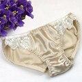 3 pçs/lote calcinha 100% cuecas de seda das mulheres de seda pura sexy para as mulheres da senhora com rendas underwear alta qualidade