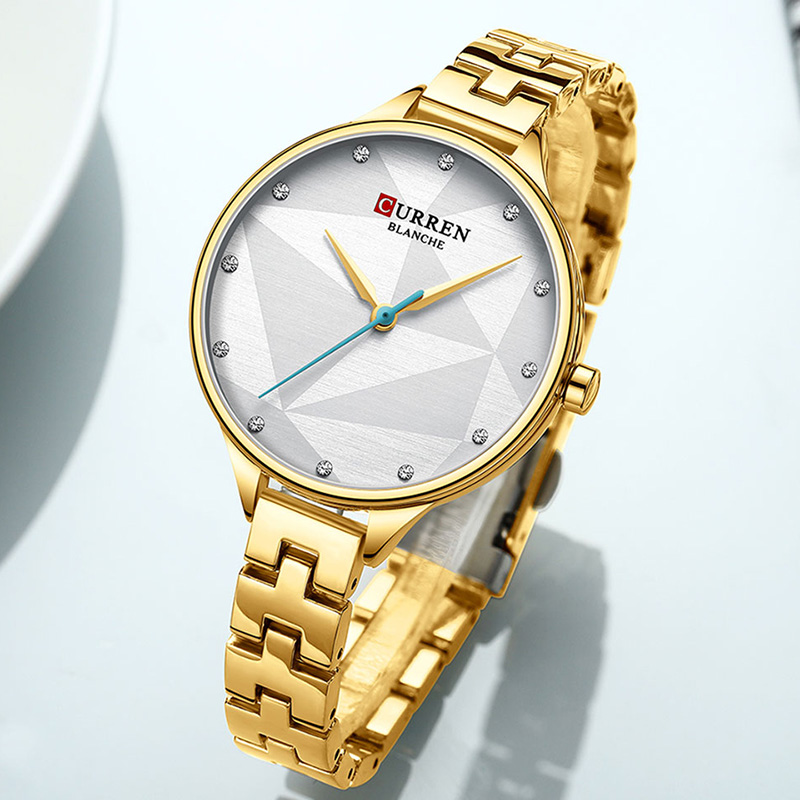 CURREN Gold Women Watches Quartz Wristwatches Women Gift Watch Women Luxury 2019 Ultra Thin Waterproof Watch For Women Steel(China)
