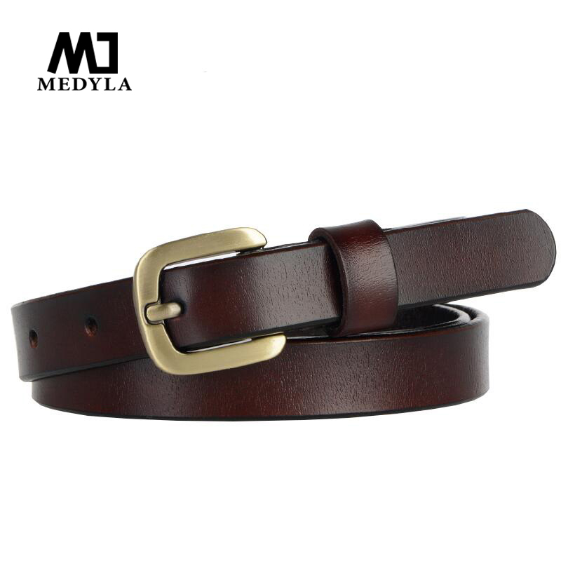 MEDYLA Designer Belts Women Strap High Quality Genuine Leather Famous Brand ladies' Belt For Jeans Skirt Girls coffee  Pin Buckl