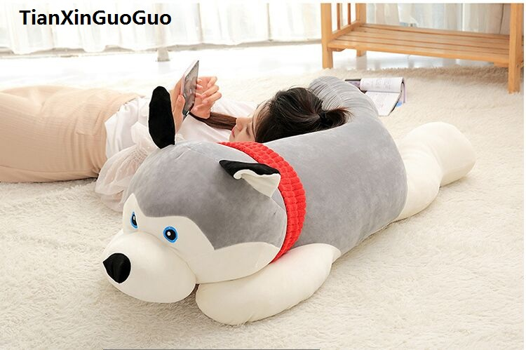 fillings toy large 120cm gray husky plush toy down cotton lying husky soft doll sleeping pillow birthday gift s0595 75cm super cute plush toy dog lipstick dog pillow doll lying prone as gifts to friends and children with down cotton