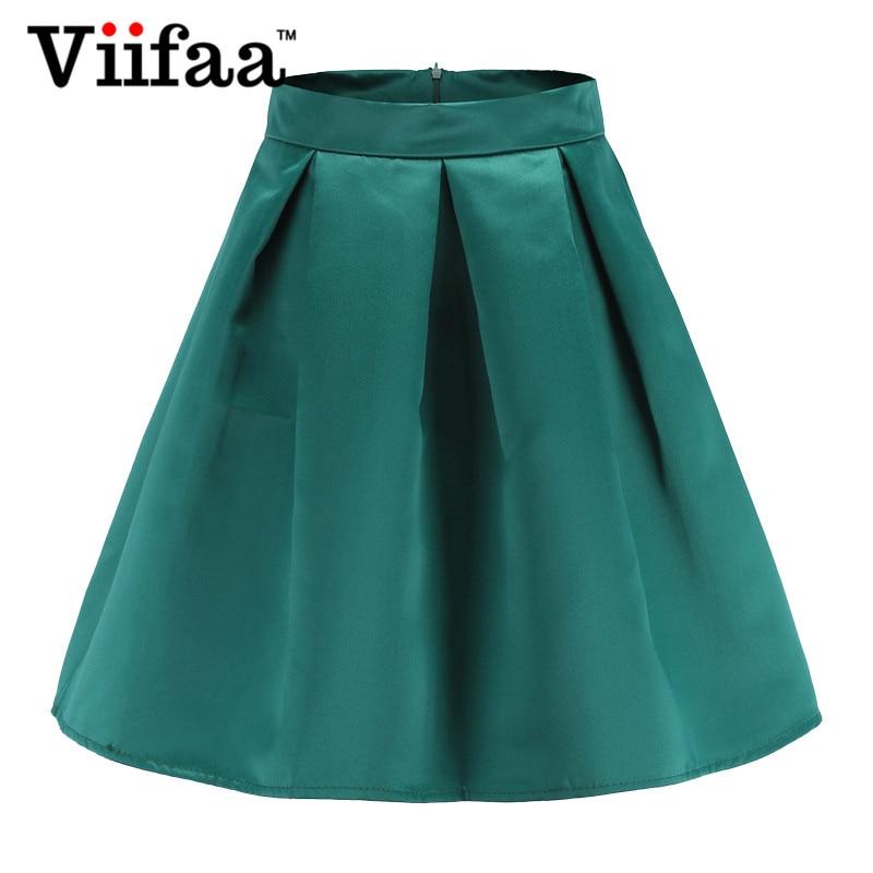 52933a8d5a Viifaa Green Mini Skirt Silky High Waist School Skirts Womens 2019 Summer  Streetwear A Line Short Pleated Skirt-in Skirts from Women's Clothing on ...