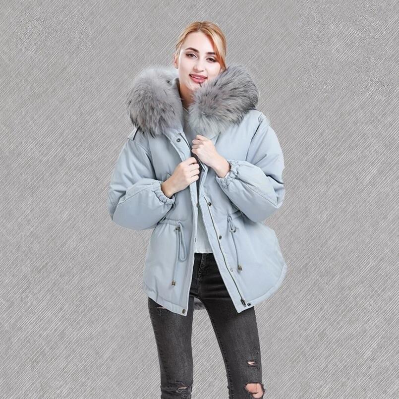 Korean style Adjustable Waist slim Big leopard fur collar White duck   down   women   down   parkas 2019 winter thick   down     coats   gx1107