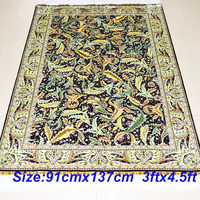 Mingxin 3x4 5 Feet Shaggy Silk Rugs Modern Design Green Leaves Hand Weave Turkish Silk Carpet