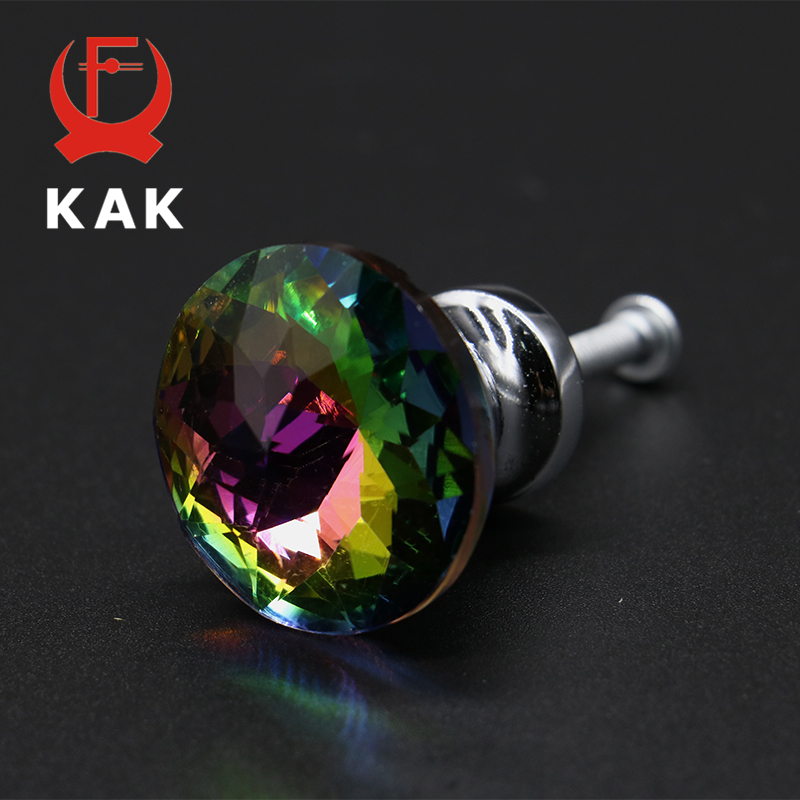 KAK 30mm Diamond Shape Design Colorful Crystal Glass Knobs Cupboard Drawer Pull Door Kitchen Cabinet Wardrobe Handles Hardware luxury gold czech crystal round cabinet door knobs and handles furnitures cupboard wardrobe drawer pull handle