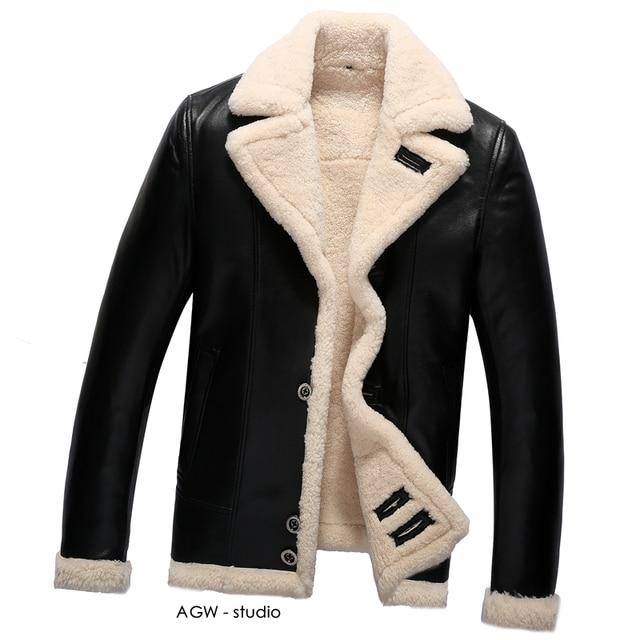 Mens Sheepskin Fur Coat Shearling Coats Luxury Sheepskin Leather ...