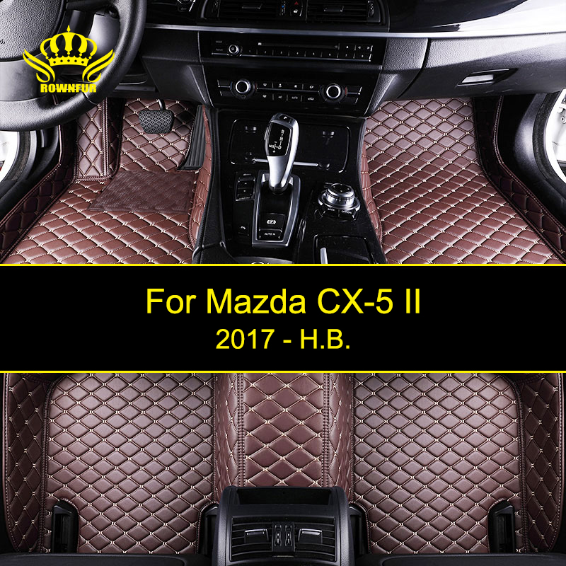 ROWNFUR Waterproof Car Floor Mats For Mazda CX-5 II 2017 NEW High Quality Custom Leather Floor Mat Interior Car Carpet Mat auto floor mats for honda cr v crv 2007 2011 foot carpets step mat high quality brand new embroidery leather mats