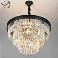 Vintage Europe Metal Crystal K9 LED Modern Loft Chandelier Lamp Lustres Lights E14 For Living room bedroom restaurant lobby cafe