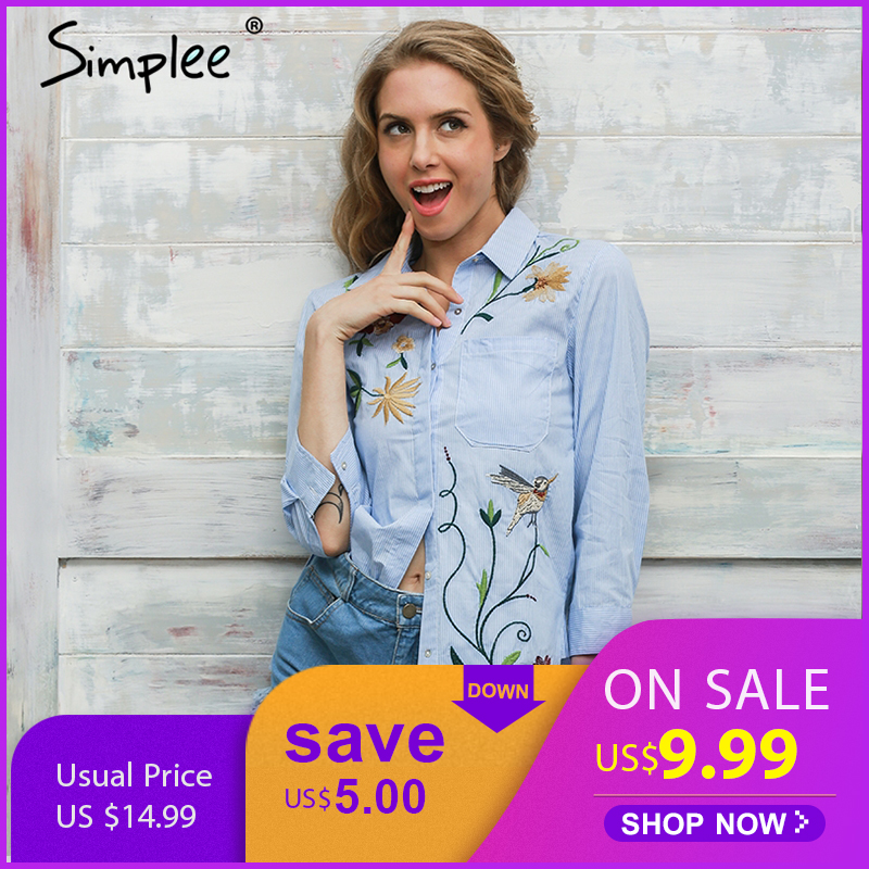 Simplee Embroidery long sleeve blouse shirt women tops 2017 Elegant  blue striped flower feminine blouse chemise femme blusas