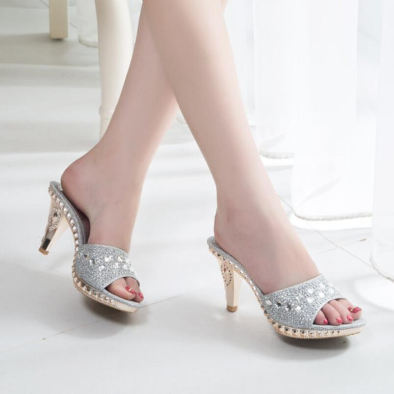 Koovan Women Sandals 2017  Summer New Fashion Princess Flower Sequined Fish Head Women High Heels Shoes Sexy Slippers Pumps 2015 summer new rome sweety fish head mixed color women sandals high heels women sandal breathable comfort women sandals e1092