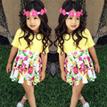 Novas Crianças de Verão Conjunto de Roupas Menina Saias Florais + Amarelo T-shirt Conjunto Roupa de Crianças Meninas Do Bebê Roupas roupas da menina da criança