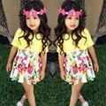 Nueva Muchacha de Los Niños Ropa de Verano Conjunto Floral Faldas + Amarillo T-shirt Ropa Niños Bebés Fijados Ropa de la muchacha del niño ropa