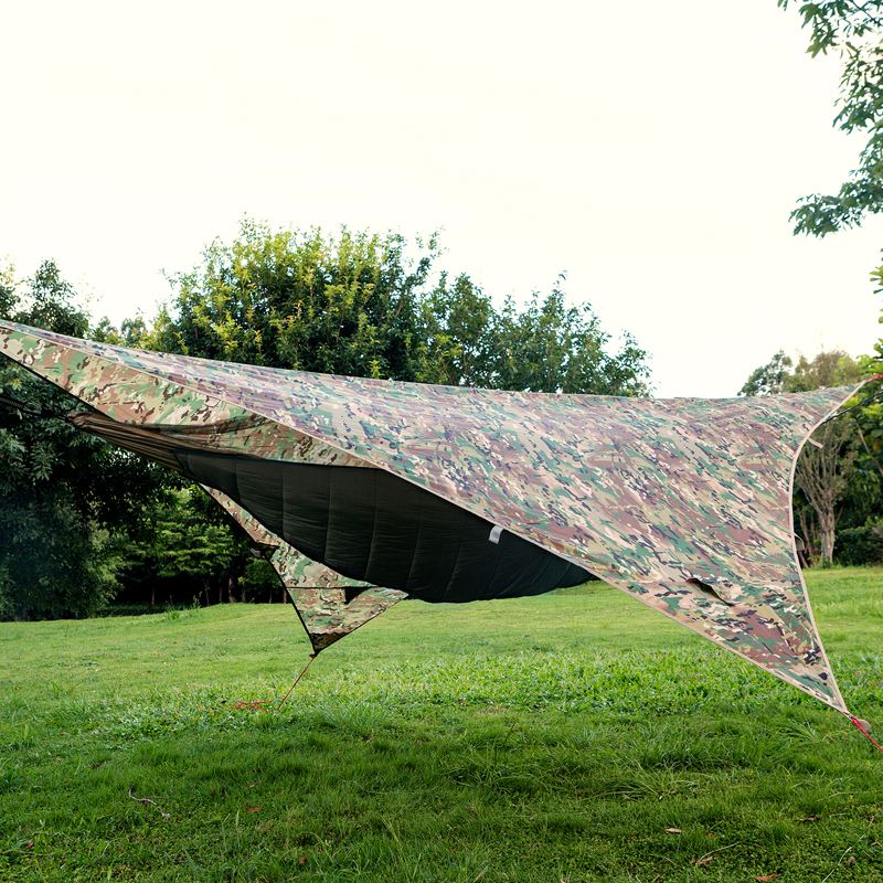 OneTigris Multicam Rain Fly Tarp Waterproof Tent Survival Backpacking Tarp Shelter for Survivalists Camping 9ft 9ft