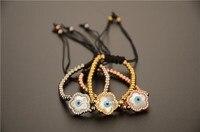 5 unids bule madre de perla pulsera pulsera de ojo Al Por Mayor de flores naturales con AAA zirconia cúbico de piedra