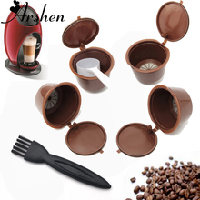 Arshen Dolce Gusto 4 Pcs/Set Plsatic Refillable Coffee Capsule + Spoon & Brush 200 Times Reusable Compatible Nescafe