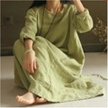 Retro Summer Womens Plus Cotton Linen Long Dresses Hot Leisure Vintage Female Loose Fit Long Dress Gown Caftan Free Size