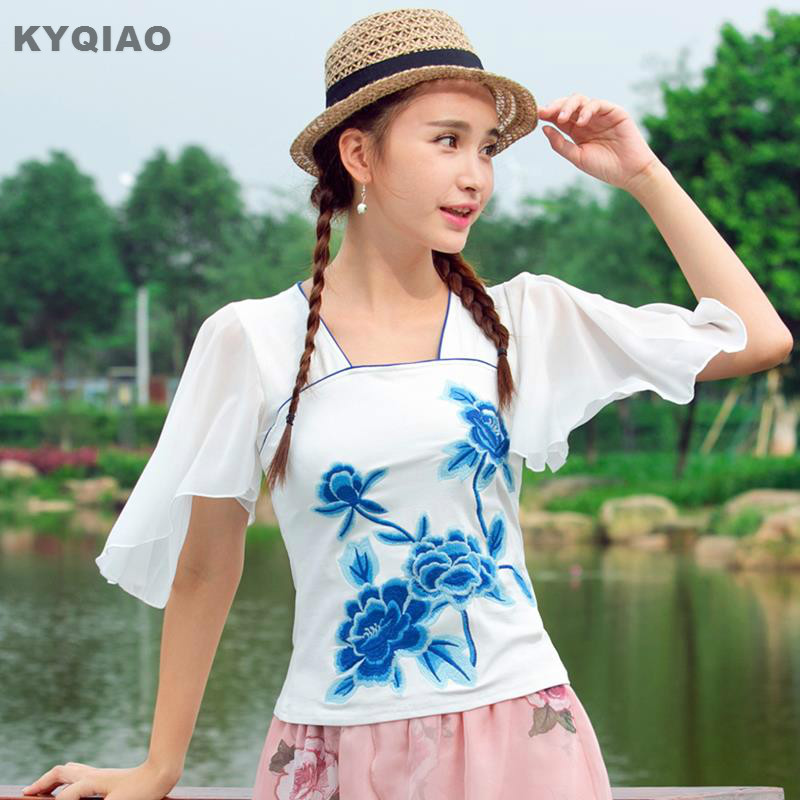 KYQIAO Bohemian   blouse   2019 women pullover female ethnic boho square collar butterfly sleeve floral blue white pink   blouse     shirt