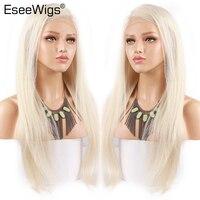 Eseewigs #60 полный кружево парик Platinm блондинка парик их натуральных волос шелковистые прямые для женщин бразильский волосы remy Предварительно с