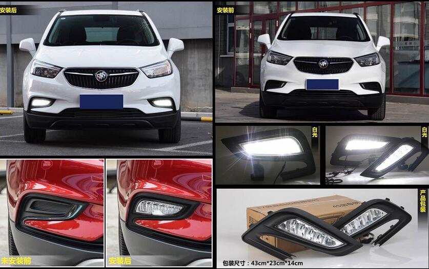 eOsuns led drl daytime running light fog lamp for Buick Encore Opel mokka 2017 2018, super bright, one pair 2 pcs for buick encore opel mokka 2012 2014 car rain lamp super bright special laser beam rear end collision warning light page href