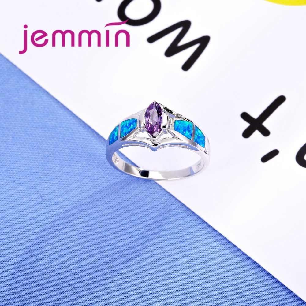 Nuovo Ovale Viola di Cristallo Anelli di Nozze Per Le Spose 925 Sterling Argento anelli di Fidanzamento Anello di Barretta Con Opale di Fuoco Blu di Pietra