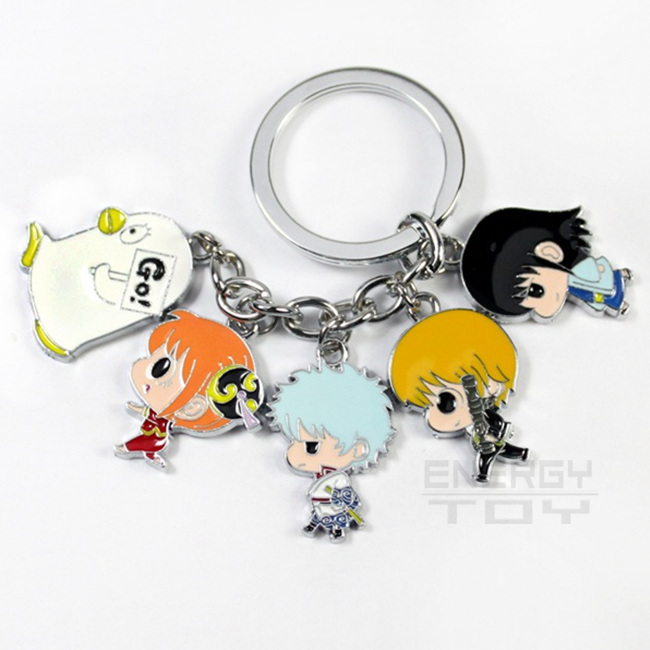 Fashion Keychain Anime Silver Soul Gin Tama Gintama Pendant Model Key Chain Charms Hanging Keyring Anime Key Holder Accessories