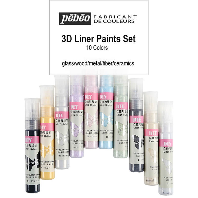 France Pebeo DIY Fine Liner Pen 3D Effect Metallic Glitter Permanent Colored Marker Painting Pigment On Fabric Glass Ceramic