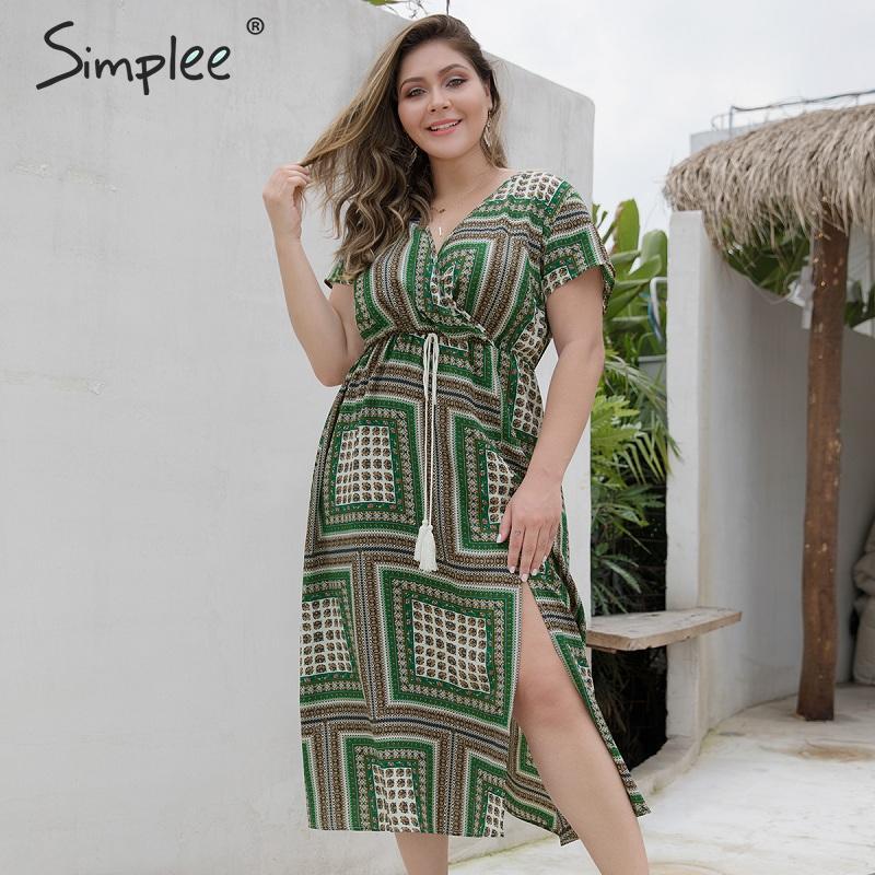 Simplee этническое клетчатое летнее платье для женщин с кисточками и поясом Сплит зеленые миди праздничные платья женские элегантные богемные...