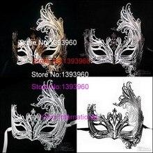 Venezianischen Glanz Schwarz Phoenix Laser Cut scary maske Metall Mit Sparkly Crystals Maskerade Masked Masken dämon