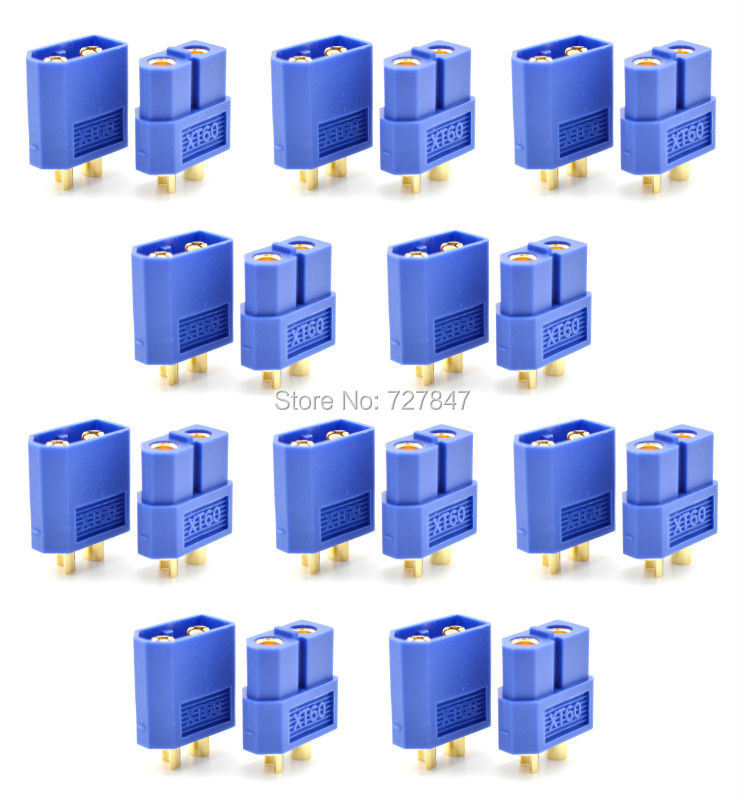 10 pairs XT60 blue Connector plug Male / Female for  RC Lipo Battery quadcopter multicopter 10 pairs female male xt90 banana bullet connector plug for rc lipo battery b