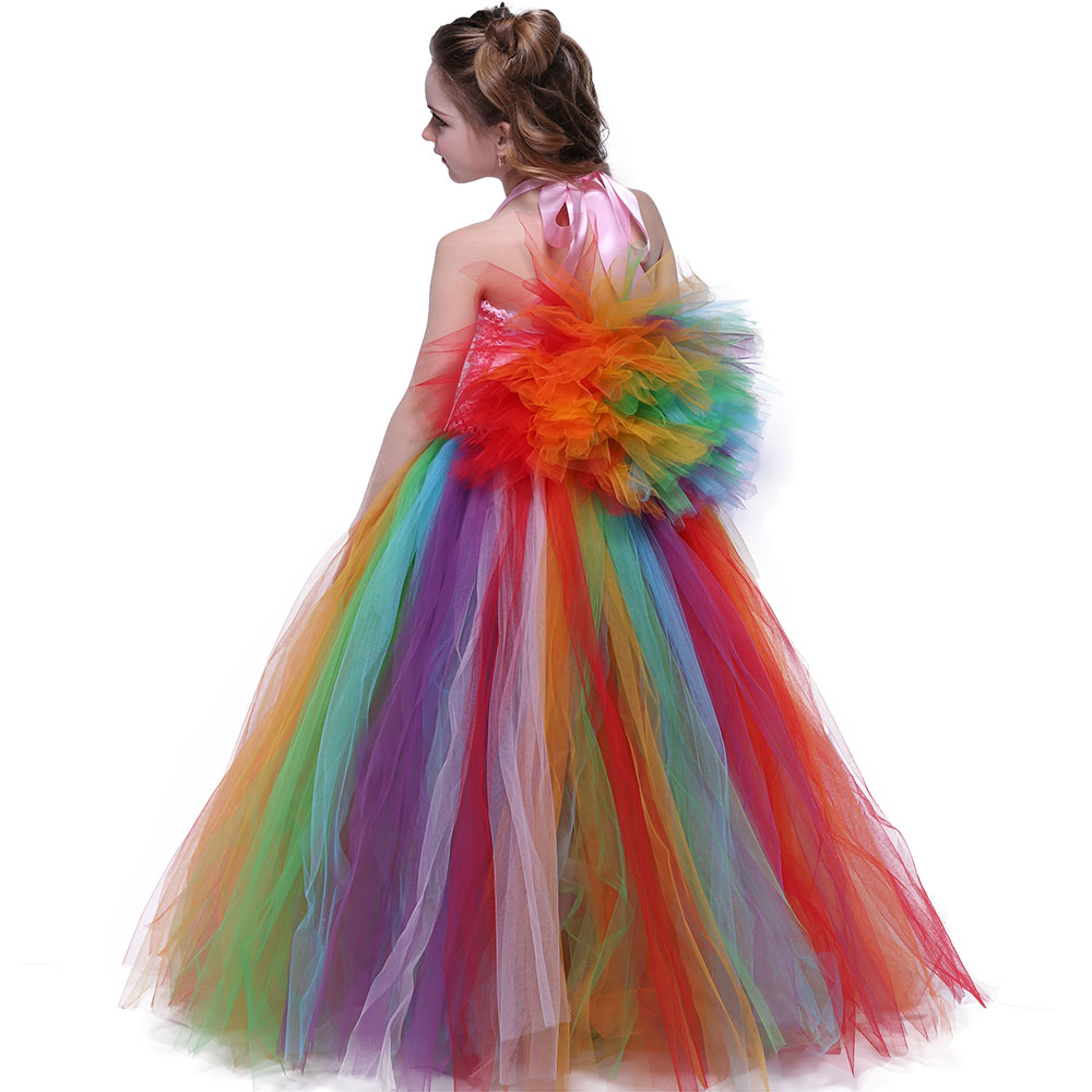 Toddler Girl Party Clothing Fluffy Lace Rainbow Birthday Prom ... 12b07a2e6418