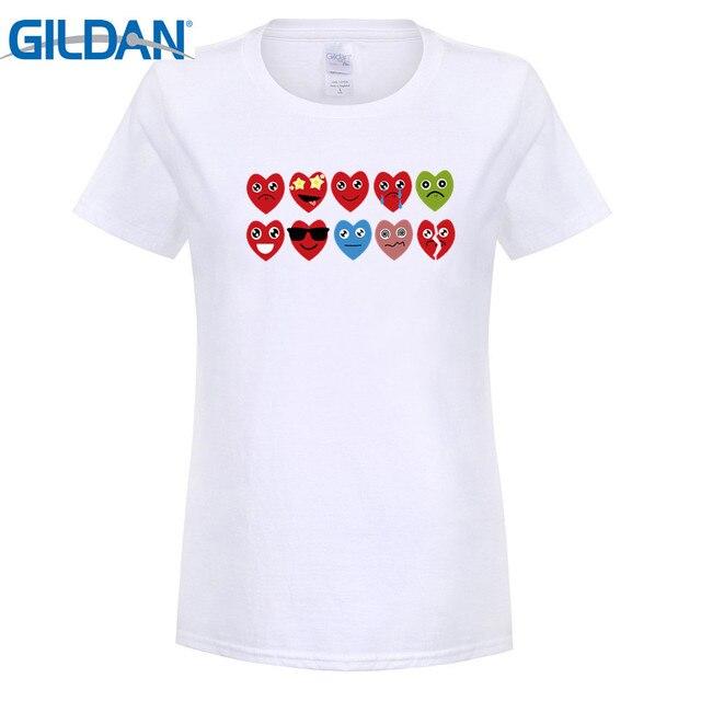 GILDAN fashion brand t shirt Summer 2017 Woman heart emoji love short  sleeve tshirts