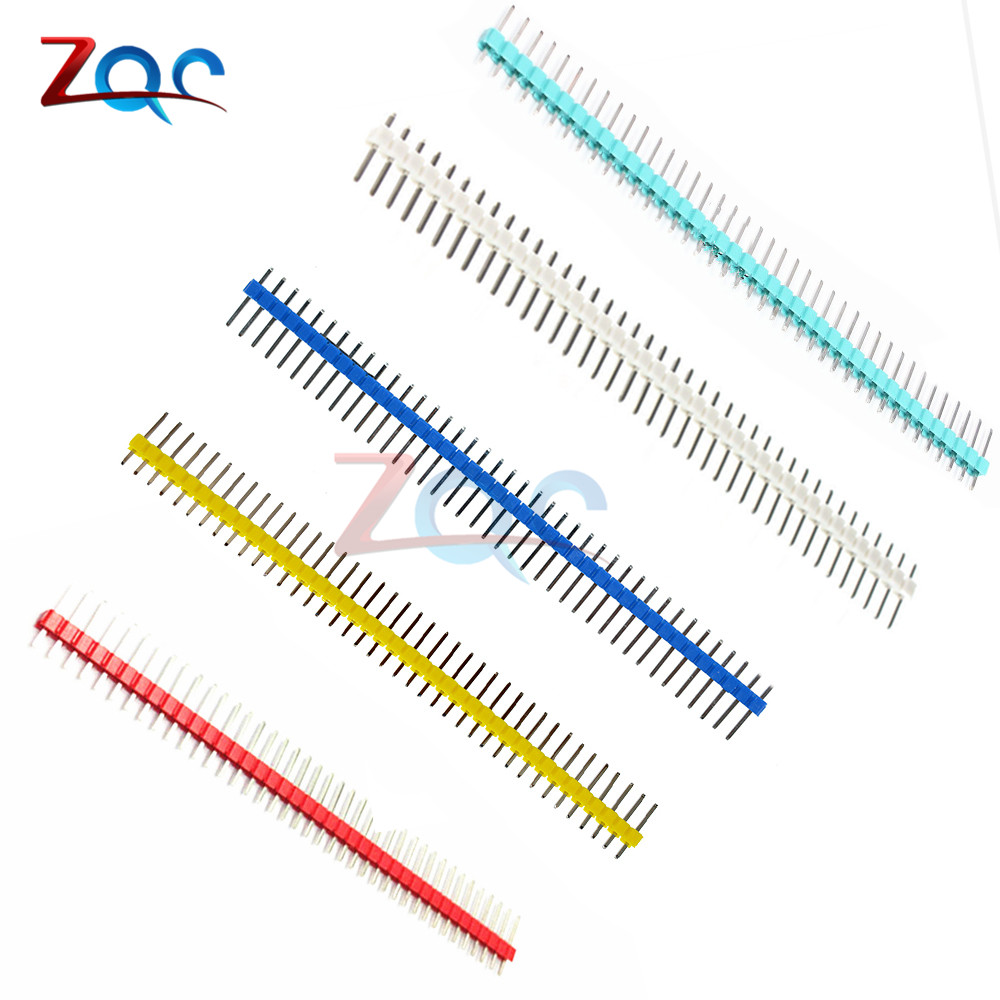 10PCS 40Pin 1x40P Male Breakable Pin Header Strip 2.54mm Long Blue Red White Green Yellow Connector