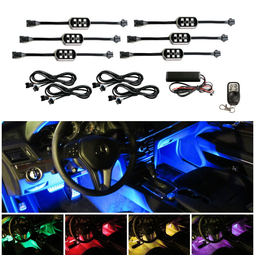 Us 32 71 20 Off 6pcs Set Pods 7 Color Rgb Led Flexible Neon Underbody Interior Motorcycle Car Accent Lighting Kit Wireless Remote Control In